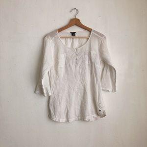 Eddie Bauer blouse white cotton Small slip on